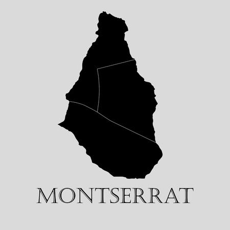 montserrat: Black Montserrat map on light grey background. Black Montserrat map - vector illustration. Illustration