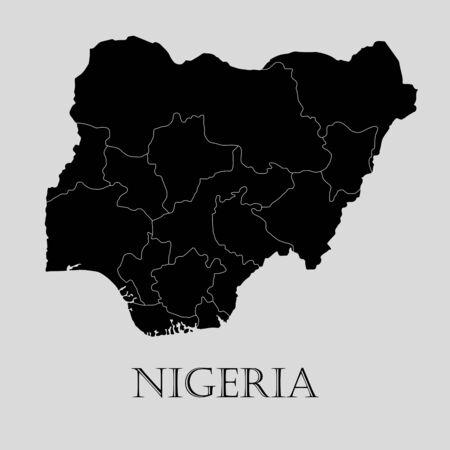 nigeria: Black Nigeria map on light grey background. Black Nigeria map - vector illustration.