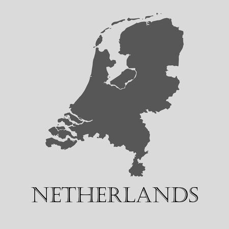 netherlands map: Gray Netherlands map on light grey background. Gray Netherlands map - vector illustration.
