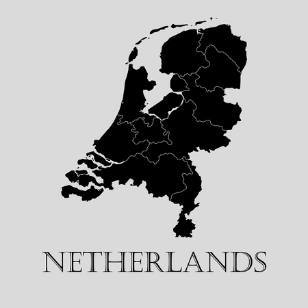 Black Netherlands map on light grey background. Black Netherlands map - vector illustration.