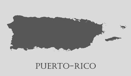 Gray Puerto-Rico map on light grey background. Gray Puerto-Rico map - vector illustration.  イラスト・ベクター素材