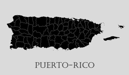 Black Puerto-Rico map on light grey background. Black Puerto-Rico map - vector illustration. Illustration