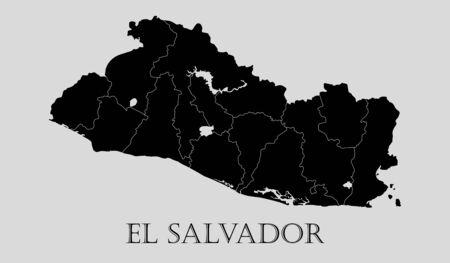 mapa de el salvador: Mapa negro El Salvador sobre fondo gris claro. Mapa negro El Salvador - ilustración vectorial.