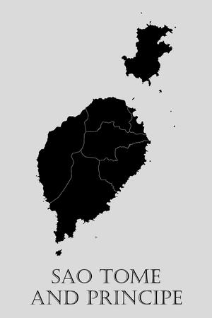 principe: Negro Santo Tomé y Príncipe mapa sobre fondo gris claro. Negro Sao Tome y Principe mapa - ilustración vectorial. Vectores