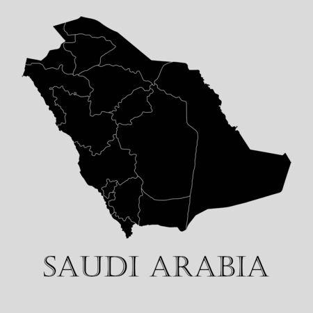 saudi arabia: Black Saudi Arabia map on light grey background. Black Saudi Arabia map - vector illustration.