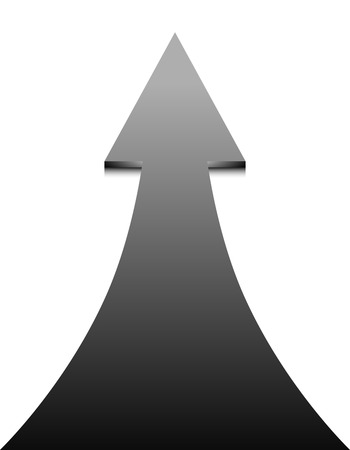 onwards: Black arrow on white background - vector illustration. Up Arrow, concept of growth and progress.