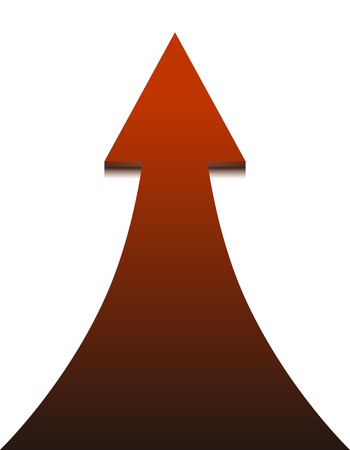 onwards: Red arrow on white background - vector illustration. Up Arrow, concept of growth and progress.