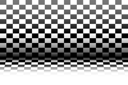 checkerboard: A realistic interior in the style of a black and white checkerboard. The floor and walls of the room in the style of a chessboard. Vector illustration.