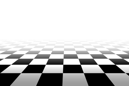 vanish: Checkered background in perspective - vector illustration. Squares - black and white