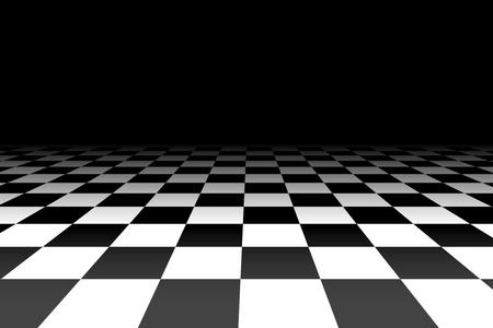 checkered background: Checkered background in perspective - vector illustration. Squares - black and white