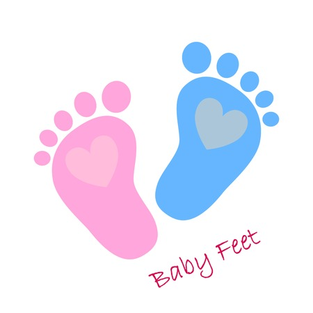 baby boys: Simple baby footprints - vector illustration. Red and blue baby footprints with image of the hearts inside. Illustration