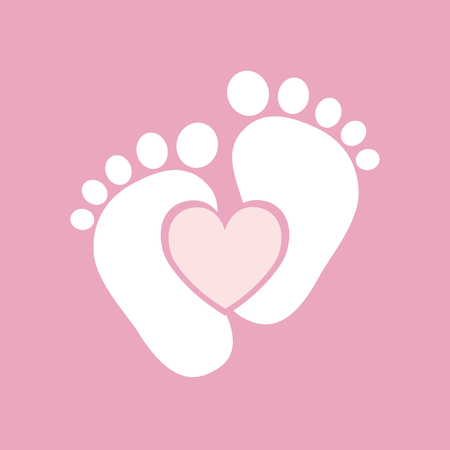 Simple baby footprints - vector illustration. Pink footprints of baby with image of the heart inside. Stock Illustratie