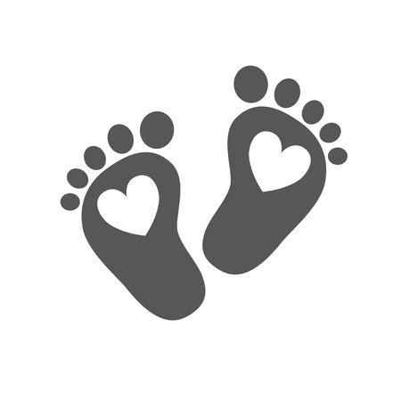 Simple Voetafdrukken van de baby - vector illustratie. Zwarte voetafdrukken van de baby met een afbeelding van het hart binnen op een witte achtergrond.