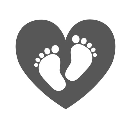 little girl feet: Simple baby footprints - vector illustration. White footprints of baby inside of the black heart. Illustration