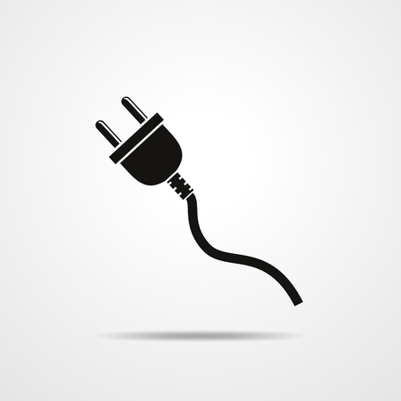 Wire plug - vector illustration. Concept connection, connection, disconnection, electricity. Plug and cord in flat design.