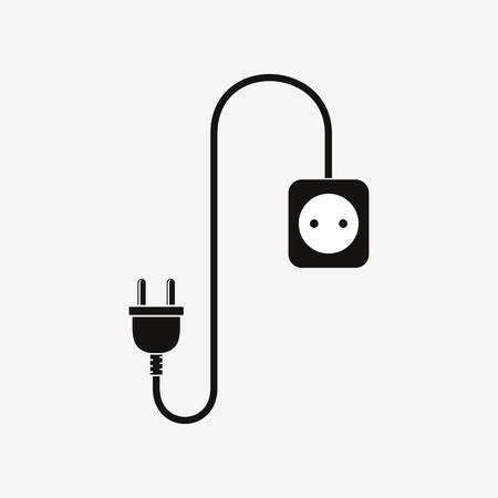 plug socket: Wire plug and socket - vector illustration. Concept connection, connection, disconnection, electricity. Plug, socket and cord in flat design.
