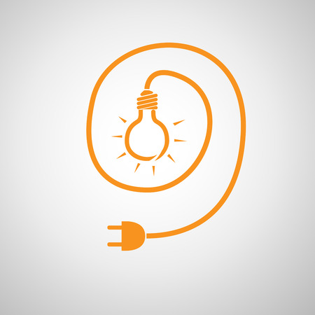 disconnection: Light bulb and wire plug - vector illustration. Concept connection, connection, disconnection, electricity. Plug, cord and light bulb in flat design.