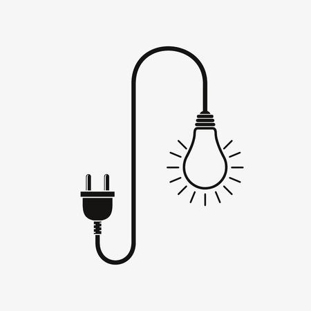 Gloeilamp en wire plug - vector illustratie. Concept-verbinding, verbinding, scheiding, elektriciteit. Stekker, snoer en lamp in flat design. Stock Illustratie