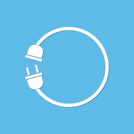 disconnection: Concept of connection, disconnection of electricity. Simple white silhouette the fork and socket on a light blue background - vector illustration. Illustration