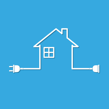 Silhouette Of House With Wire Plug And Socket - Vector Illustration ...