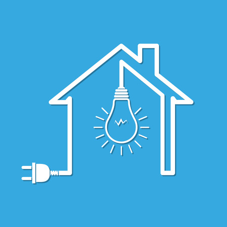 Silhouette of house with wire plug and light bulb - vector illustration. Simple icon with house, light bulb and wire plug on blue background.