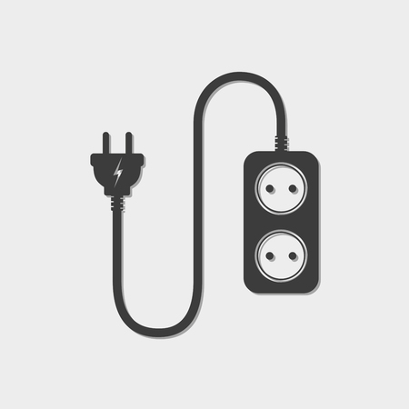 wattage: Extension cord - vector illustration. Icon of power extension cord. Simple black electrical socket. Illustration