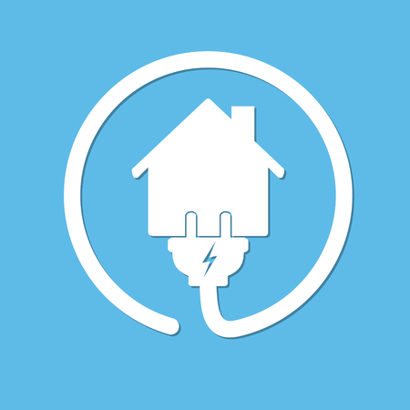 disconnection: Silhouette of house with wire plug and socket - vector illustration. Simple icon with house and wire fork on blue background. Concept of connection and disconnection of the electricity. Illustration
