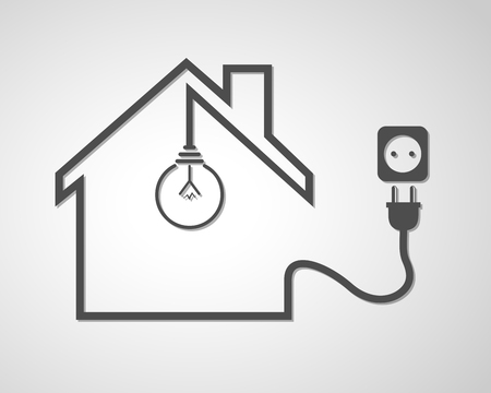 Black house with socket and light bulb - vector illustration. Simple icon with house silhouette, light bulb and socket with plug. 일러스트
