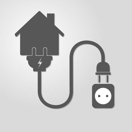 enchufe de luz: Silueta de la casa con el enchufe y el zócalo de alambre - ilustración vectorial. Icono simple con la casa, toma de corriente y enchufe del alambre sobre fondo claro. Concepto de conexión, la desconexión de la electricidad.