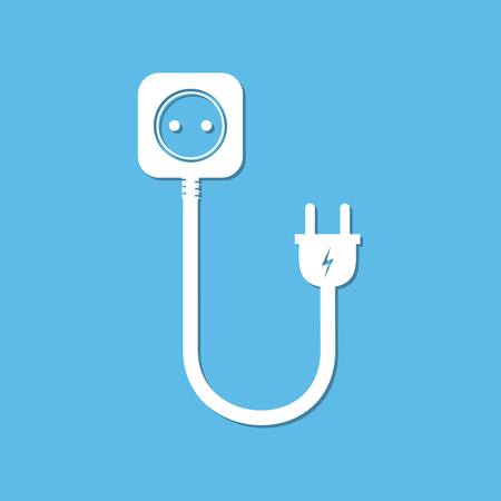 ac: Extension cord - vector illustration. Icon of power extension cord. Simple electrical socket on a white background.