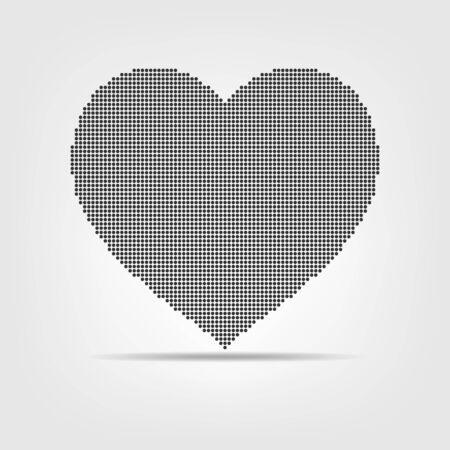 Black dotted heart on light background. Vector illustration