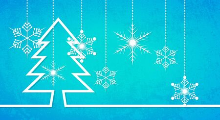Abstract Christmas background with hanging snowflakes. Blue winter background. Christmas celebration background.  illustration.
