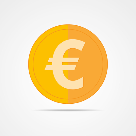 Coin icon in flat design. Gold euro symbol. Income concept. Cash euro coin -  illustration. Illustration
