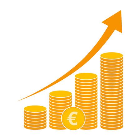 accumulation: Coin icon in flat design. Gold euro symbol. Income concept. Heap of Cash euro coin - vector illustration.