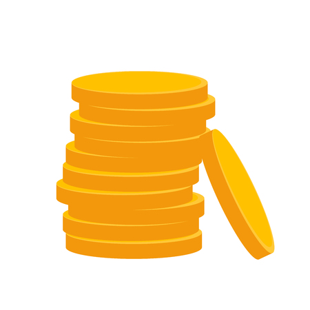 Coin icon in flat design. Gold coin symbol. Concept of income. Heap of cash coin -  illustration.
