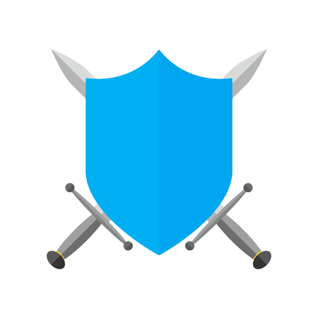 Shield and swords in flat design. Shield and sword icon isolated. Vector illustration. Illustration