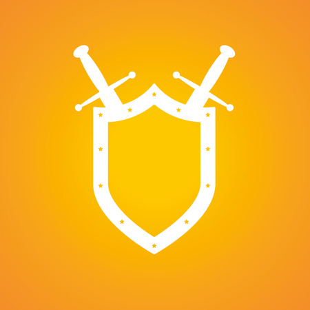 Shield and swords in flat design. Shield and sword icon. Vector illustration. Illustration