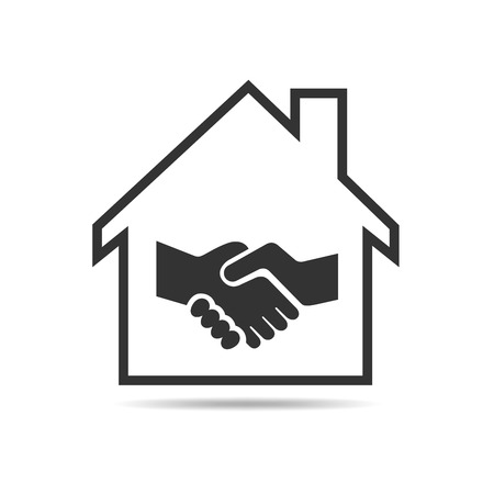 Icon silhouette of house with handshake inside. The concept of buying and selling real estate. Vector illustration. Zdjęcie Seryjne - 67823411