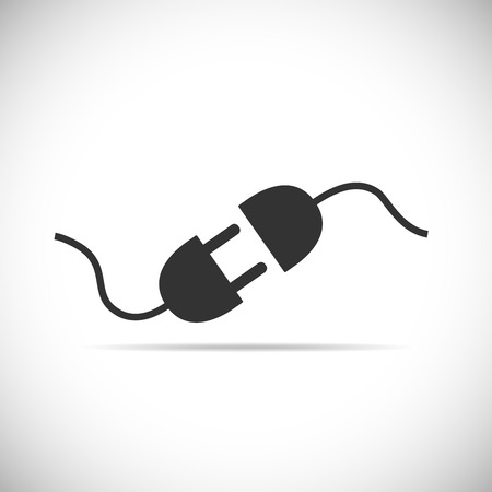 Wire plug and socket icon. Vector illustration. Plug, socket and cord in flat design. Concept of connection and disconnection of the electricity. Иллюстрация