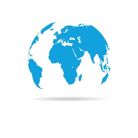フラットなデザインの惑星地球アイコン。白い背景に影と地球。ベクトルの図。