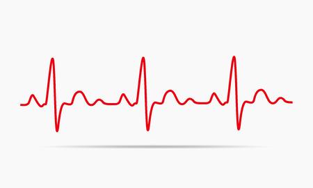 Czerwona ikona pulsu. ilustracji wektorowych. Heartbeat podpisania w płaskiej konstrukcji. Ilustracje wektorowe