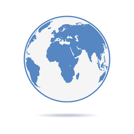 flat earth: Planet Earth icon in flat design. Planet Earth with shadow on a white background. Vector illustration.