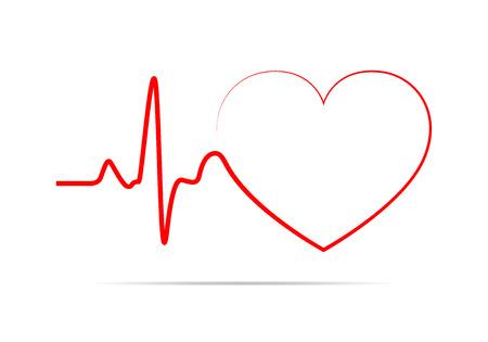 icono de corazón rojo con el latido del corazón de signos. Ilustración del vector. Muestra del corazón en diseño plano. Ilustración de vector