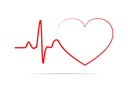 Red heart icon with sign heartbeat. Vector illustration. Heart sign in flat design. Фото со стока - 67823931