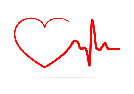 cardiograph: Red heart icon with sign heartbeat. Vector illustration. Heart sign in flat design.