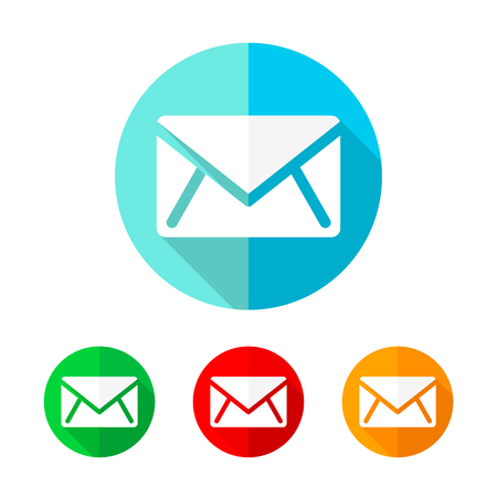 Set of colored message icons. White message icon with long shadow. Vector illustration. Message on a the round button.