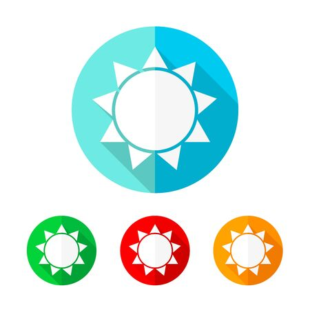 Set of colored sun icons. White sun icon with long shadow. Vector illustration. The sun sign on a the round button.