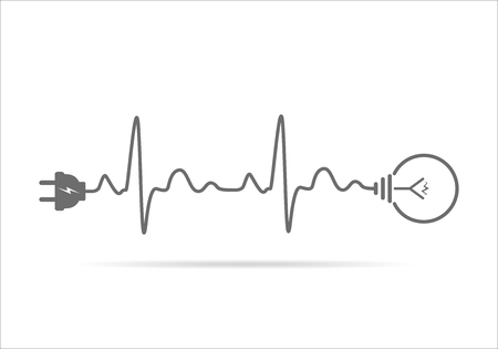 Bouchon de fil et ampoule icône plat. Vector illustration. Fiche, ampoule et le cordon sous la forme de battement de coeur. Concept de l'électricité et de l'éclairage. Banque d'images - 67826338