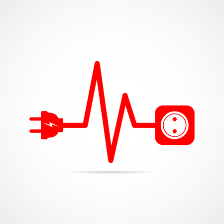 Wire plug and socket flat icon. Vector illustration. Plug, socket and cord in the form of heartbeat. Concept of connection and disconnection of the electricity.