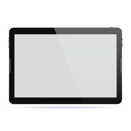 palmtop: Modern touch screen tablet computer isolated on white background. Tablet computer with blank screen. Vector illustration. Illustration